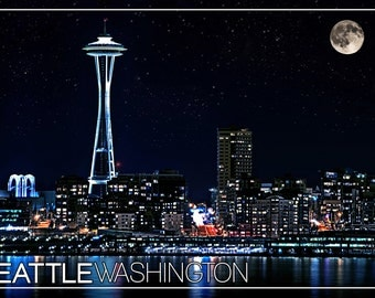 Seattle, Washington - Skyline and Full Moon (Art Prints available in multiple sizes)