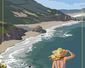 Big Sur, California Coast Scene (Art Prints available in multiple sizes)