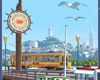 San Francisco, California - Fisherman's Wharf (Art Prints available in multiple sizes)