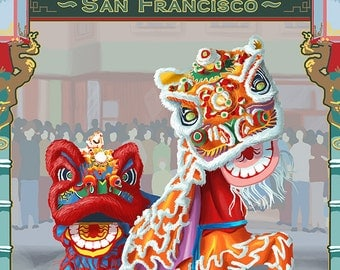 San Francisco, California - Chinatown (Art Prints available in multiple sizes)