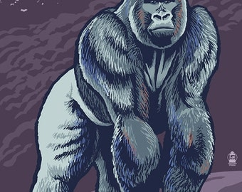 Gorilla - Visit the Zoo (Art Prints available in multiple sizes)