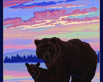 Banff, Canada - Bear and Cub (Art Prints available in multiple sizes)