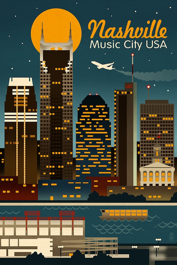 Retro Skyline Nashville Tennessee Art Prints Available In