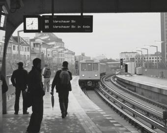 U Bahn Train Platform Silhouette Berlin - U Bahn, Berlin, Germany, Europe : Street Photography Black and White Print - Any Size