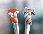 Fox and raccoon ice cream spoon, kawaii fox, cute raccoon spoon, forest friends, forest animals
