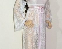 Ivory -White -Black Bridal Sleepwear Romantic robe, Bridal robe, Honeymoon robe, Wedding robe, Lace Nightgown,Maternity lace robe