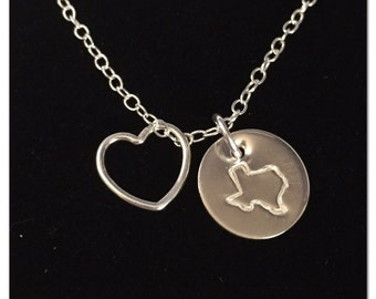 State Heart Necklace - Silver Necklace - State Necklace - Hand Stamped State on Disc - Sterling Silver Disc - Personalized State Necklace