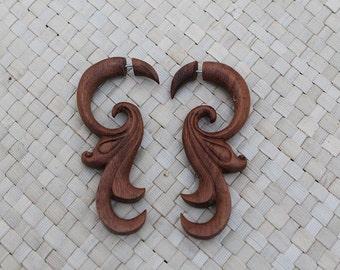 Tribal Fake Gauge Earrings, Sono Wood Earrings, Hand Carved Wooden Earrings