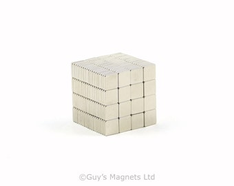 5mm x 5mm x 1mm strong neodymium block magnets ideal for magnetic card closures and magnetising wargame figures GuysMagnets