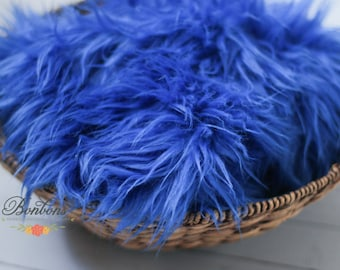 STOREWIDE SALE - Royal Blue - Faux Fur Photography Prop Soft, Cozy, Cuddly Faux Fur Nest Newborn Posing Photography Prop, Stuffer, Layering