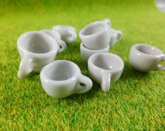 10 White Cups Dollhouse Miniatures Ceramic, Handcrafted, Deco,1:12,Thailand
