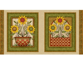 Sunflower Bouquet - Sunflower Picture Panel - Cotton Quilt Fabric - by Angela Anderson for Quilting Treasures - 23229-EH (W2870)