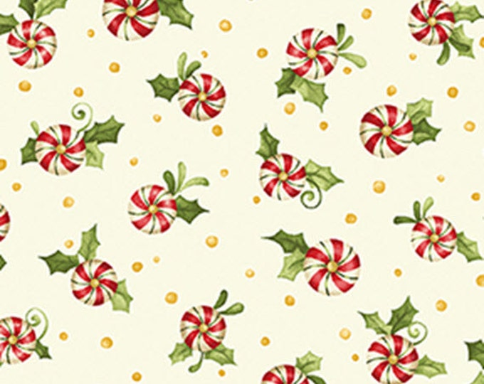 Half Yard REMNANT Santa's Here - Candy Swirls in Cream - Cotton Quilt Fabric - Inspired by Nancy Halvorsen for Benartex - 6078-07 (W2990)