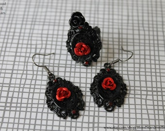 Gothic Black Cameo Rose Earrings