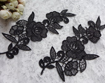 Black lace applique, one pair black venice flower appliqué