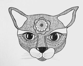 Doodle Cat ~ Original Tangle, Drawing, Art,animal, feline
