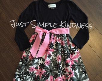 Girls Valentines Dress, Girls Floral Dress, Girls Dresses, Toddler Dress, Pink Black Dress, Girls Spring Dress, Spring Dress, Flower Dress