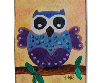 ACEO ORIGINAL. Acrylic Painting. OWL. Miniature Art. Artist Trading Card