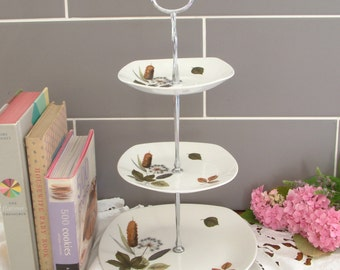Beautiful Vintage Plates Cake Stand - 3 Tier - With matching Midwinter green leafy plates - D13