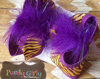 LSU Hairbow Tigers Purple Gold Animal Print Bow Exlarge School Uniform Large Feathers Yellow Gold Football