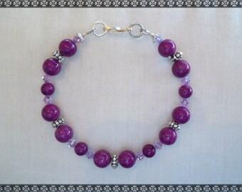 purple bracelet, purple beaded bracelet, violet bracelet