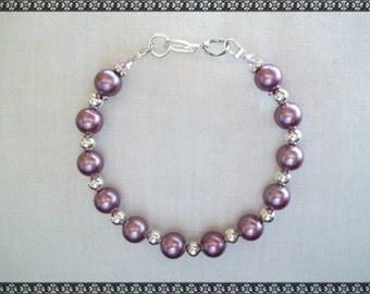 dark pink bracelet, dark pink, shell bracelet, pink, silver