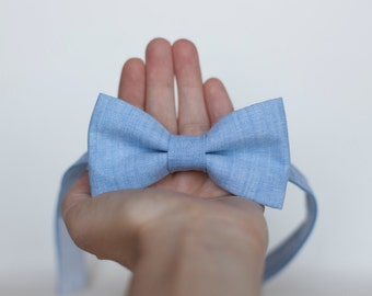 Blue chambray bow Tie, sky blue tie, baby bow tie, blue wedding,  mens bow tie, light blue tie