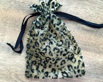 6 Black and Gold Leopard Print Drawstring Bags