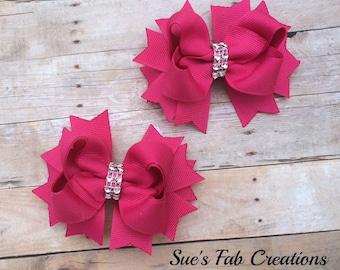 Pink Piggy Tail Bows - Pink Bows - Pink Hair Bows - Pink Hair Clips - Toddler Hair Bows - Valentines Hair Bows