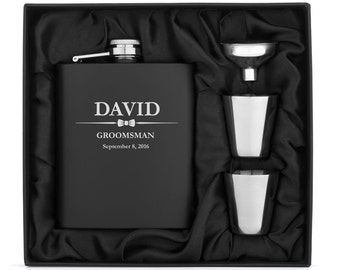 Engraved 7oz Matte Black Stainless Steel Hip Flask Funnel Shots Gift Set Box Wedding Bow Tie Personalized Custom Groomsman Best Man Wedding