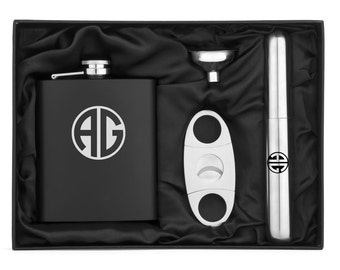 Monogram Engraved 7oz Stainless Steel Flask Funnel Cigar Cutter MATTE BLACK Personalized Custom Groomsman Best Man Groom Wedding Gift