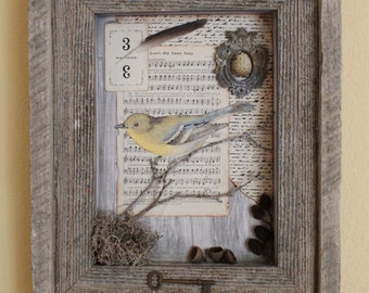 Vintage Songbird - Found Object Assemblage