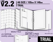 Trial [A6 v2.2 w DS1 do2p] March to May 2017 - Filofax Inserts Refills Printable Binder Planner Midori.