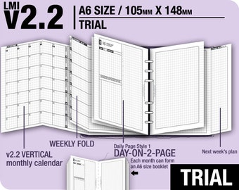 Trial [A6 v2.2 w DS1 do2p] April to June 2018 - Filofax Inserts Refills Printable Binder Planner Midori.