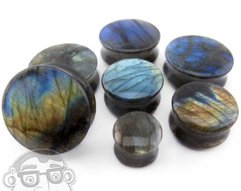 "Grade A Labradorite Stone Plugs (0G - 1 & 1/4"" Inch) - Sold in Pairs - New!"