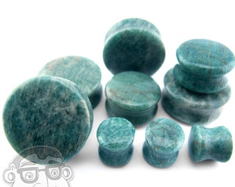 """Amazonite Stone Plugs (1/2"""" - 1 & 1/2"""" Inch) - Sold in Pairs - New!"""