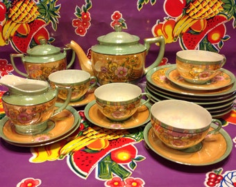 Beautiful delicate Japanese luster ware tea set-floral design with gold accents