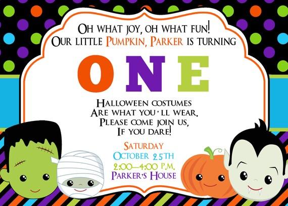 First Birthday Halloween Party Invitation Halloween Birthday – Costume Party Invitation Ideas