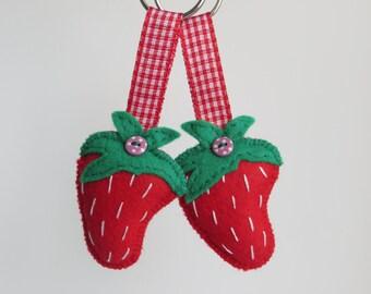 Hand sewn felt strawberry keyring