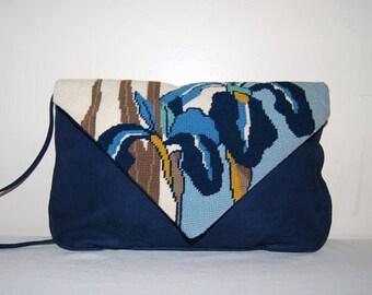 Vintage Blue Iris Moonbag