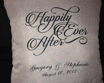 "Wedding customizable pillow ""Happily Ever After"""