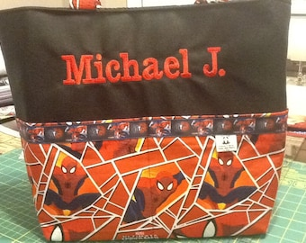 Personalized tote bag with lots of pockets made with Spider-Man fabric
