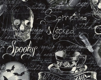 Gothic Halloween Fabric - Wicked Motif Halloween Collection for Timeless Treasures c3386 Black - Priced by the Half Yard
