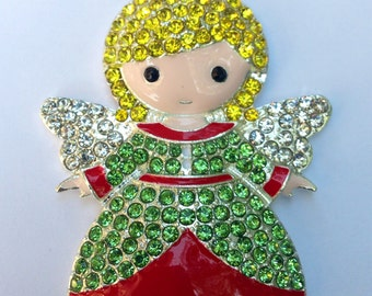 45mm Christmas Angel Red & Green Holiday Xmas Rhinestone Pendant Chunky Necklace Beads