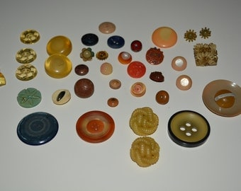 Lot of 37 Antique Buttons Celluloid 1920-s-1940's