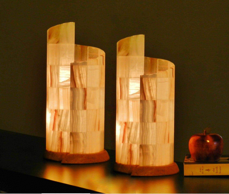Par de lamparas de mesa piedra onix alabastro en forma - Precios de lamparas ...