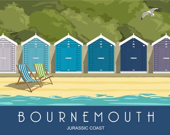 BOURNEMOUTH. Art print of Bournemouth Beach Huts. Bournemouth sits on the Jurassic Coast and these huts make a colourful site. Blue