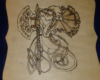 Wooden Plaque with Picture of a Dragon holding a Battle Axe