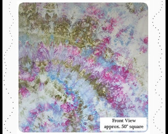 "Purple Blue Green Watercolour Effect Fabric – 56"" x 52"" hand dyed fabric, olive sage green raspberry violet sky blue grape iris fabric, 1851"