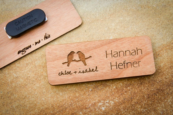Wood Name Badge Custom Name Badges Engraved Name By
